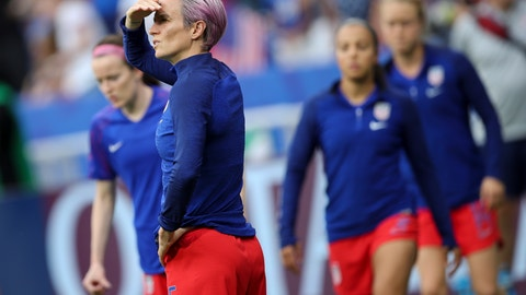 <p>               United States' Megan Rapinoe warms up before the Women's World Cup semifinal soccer match between England and the United States, at the Stade de Lyon outside Lyon, France, Tuesday, July 2, 2019. (AP Photo/Francisco Seco)             </p>