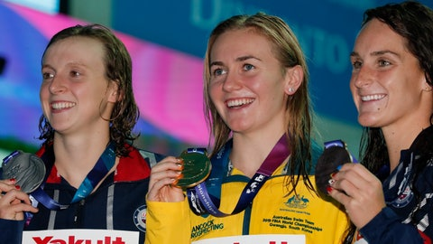 <p>               Gold medalist Australia's Ariane Titmus, centre, stands with silver medalist United States' Katie Ledecky and her compatriot and bronze medalist Leah Smith, right, following the women's 400m freestyle final at the World Swimming Championships in Gwangju, South Korea, Sunday, July 21, 2019.(AP Photo/Lee Jin-man)             </p>