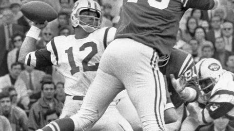 <p>               FILE - In this Jan. 12, 1969, file photo, New York Jets quarterback Joe Namath (12) throws the ball against the Baltimore Colts in Super Bowl III in Miami. Just over 50 years ago, halfway through the history of the NFL, the New York Jets completed one of the most unexpected championship seasons in the history of the sport when a brash quarterback named Joe Namath helped engineer a Super Bowl victory over the heavily favored Baltimore Colts. That now-famous journey by Broadway Joe and the boys through the AFL that ended in triumph in Miami took a lesser-known detour for the second week of the schedule. Yes, for one weekend, the Jets actually landed in Birmingham, Alabama, at Legion Field.(AP Photo/File)             </p>