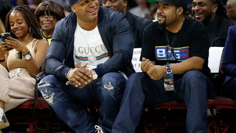 <p>               FILE - In this July 16, 2017, file photo, LL Cool J, second from front left, and Ice Cube watch the action as The Power plays the Ghost Ballers during the first half of a BIG3 basketball game in Philadelphia, Pa. Whether sitting courtside in Philly or filming in Hollywood, Ice Cube remains the famous face of his 3-on-3 halfcourt Big3 basketball league. (AP Photo/Rich Schultz, File)             </p>