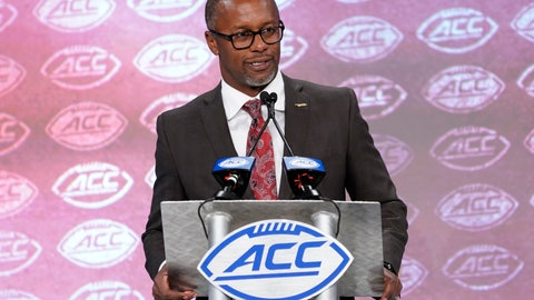<p>               Florida State head coach Willie Taggart speaks during the Atlantic Coast Conference NCAA college football media day in Charlotte, N.C., Wednesday, July 17, 2019. (AP Photo/Chuck Burton)             </p>