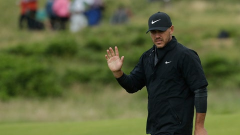 <p>               Brooks Koepka of the United States acknowledges the crowd after putting on the 9th green during the first round of the British Open Golf Championships at Royal Portrush in Northern Ireland, Thursday, July 18, 2019.(AP Photo/Matt Dunham)             </p>