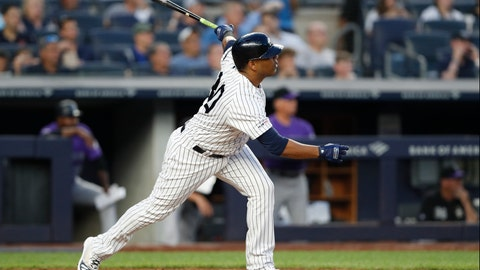 <p>               New York Yankees designated hitter Edwin Encarnacion watches his third-inning grand slam during the team's baseball game against the Colorado Rockies, Friday, July 19, 2019, in New York. (AP Photo/Kathy Willens)             </p>