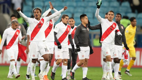 <p>               Peru's players celebrates beating Chile at the end of a Copa America semifinal soccer match at the Arena do Gremio in Porto Alegre, Brazil, Wednesday, July 3, 2019. Peru defeated Chile 3-0 and qualified to the final.(AP Photo/Ricardo Mazalan)(AP Photo/Ricardo Mazalan)             </p>