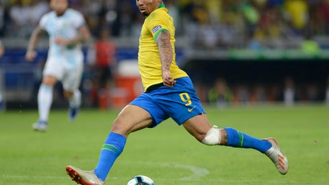 <p>               Brazil's Gabriel Jesus gets ready to strike the ball during a Copa America semifinal soccer match against Brazil at Mineirao stadium in Belo Horizonte, Brazil, Tuesday, July 2, 2019. Brazil won the match 2-0 and advanced to the final. (AP Photo/Eugenio Savio)             </p>