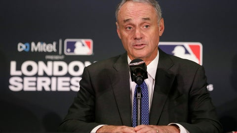 <p>               Major League Baseball commissioner Rob Manfred speaks during a news conference before a baseball game between the Boston Red Sox and the New York Yankees, Saturday, June 29, 2019, in London. Major League Baseball makes its European debut game today at London Stadium. (AP Photo/Tim Ireland)             </p>