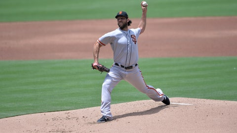 <p>               San Francisco Giants starting pitcher Madison Bumgarner works against a San Diego Padres batter during the first inning of a baseball game Sunday, July 28, 2019, in San Diego. (AP Photo/Orlando Ramirez)             </p>