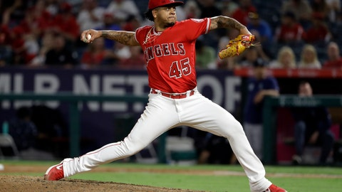 <p>               Los Angeles Angels relief pitcher Felix Pena throws to a Seattle Mariners batter during the sixth inning of a baseball game Friday, July 12, 2019, in Anaheim, Calif. (AP Photo/Marcio Jose Sanchez)             </p>