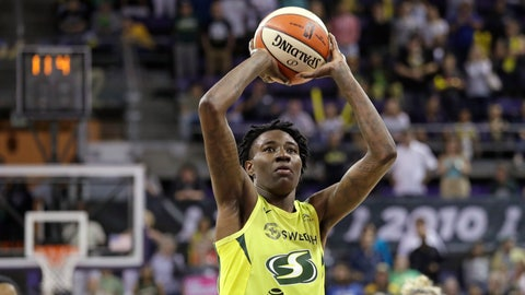 <p>               Seattle Storm's Natasha Howard shoots the first of two free throws she made with 11.4 seconds left against the Las Vegas Aces in the second half of a WNBA basketball game Friday, July 19, 2019, in Seattle. The Storm won 69-66. (AP Photo/Elaine Thompson)             </p>