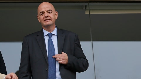 <p>               FIFA President Gianni Infantino watches a Copa America Group A soccer match between Brazil and Peru at the Arena Corinthians in Sao Paulo, Brazil, Saturday, June 22, 2019. (AP Photo/Andre Penner)             </p>