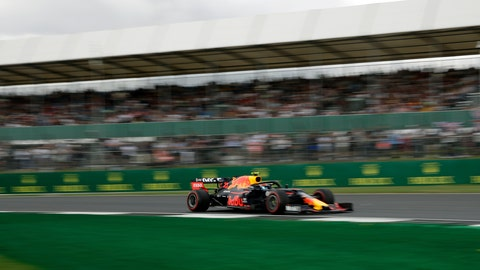 <p>               Red Bull driver Pierre Gasly of France steers his car during the first free practice at the Silverstone racetrack, in Silverstone, England, Friday, July 12, 2019. The British Formula One Grand Prix will be held on Sunday. (AP Photo/Luca Bruno)             </p>