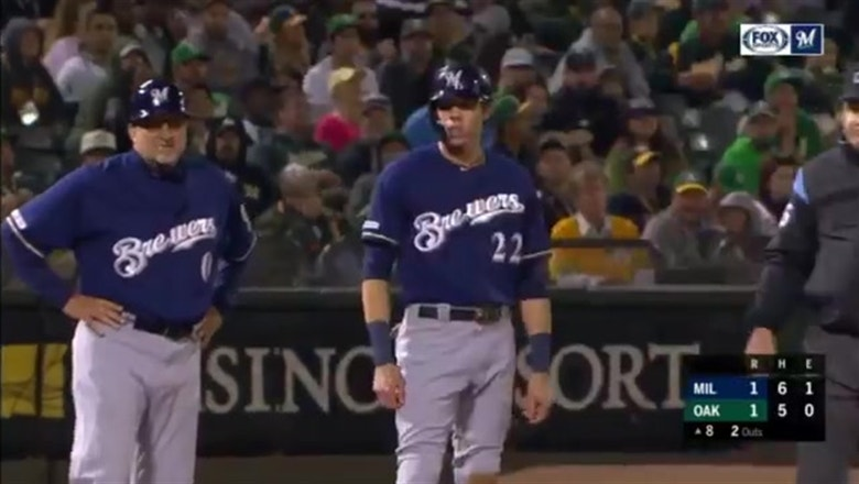 WATCH: Brewers' Yelich extends hitting streak, Grandal delivers RBI single