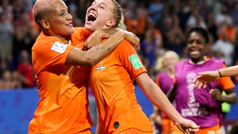 <p>               Netherlands' Jackie Groenen, is congratulated by teammate Shanice Van De Sanden, left, after scoring during the Women's World Cup semifinal soccer match between the Netherlands and Sweden, at the Stade de Lyon outside Lyon, France, Wednesday, July 3, 2019. (AP Photo/Francisco Seco)             </p>