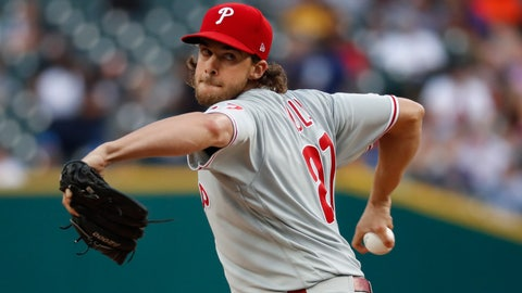<p>               Philadelphia Phillies pitcher Aaron Nola throws against the Detroit Tigers in the first inning of a baseball game in Detroit, Tuesday, July 23, 2019. (AP Photo/Paul Sancya)             </p>