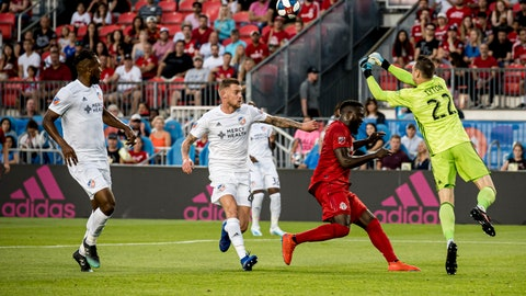 <p>               FC Cincinnati goalkeeper Przemyslaw Tyton (22) punches the ball out during the first half of an MLS soccer game against Toronto FC, Saturday, July 27, 2019 in Toronto. (Christopher Katsarov/The Canadian Press via AP)             </p>