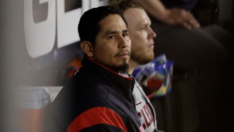 <p>               FILE - In this May 30, 2019 file photo, Cleveland Indians starting pitcher Carlos Carrasco looks to the field from the dugout during the seventh inning of a baseball game against the Chicago White Sox in Chicago. Carrasco is being treated for leukemia. He made the revelation to a TV station in the Dominican Republic, where he was visiting a hospital. Carrasco, who was diagnosed in June, 2019 remains positive about his prognosis and believes he will pitch again this season. (AP Photo/Nam Y. Huh, File)             </p>
