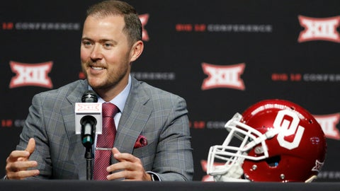 <p>               Oklahoma head coach Lincoln Riley speaks on the first day of Big 12 Conference NCAA college football media days Monday, July 15, 2019, at AT&T Stadium in Arlington, Texas. (AP Photo/David Kent)             </p>