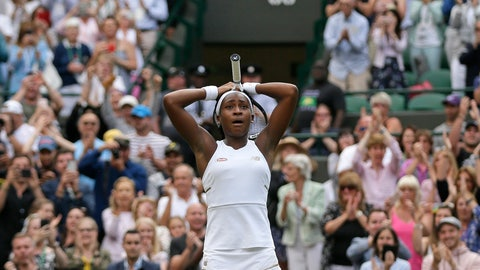 """<p>               United States' Cori """"Coco"""" Gauff reacts after beating United States's Venus Williams in a Women's singles match during day one of the Wimbledon Tennis Championships in London, Monday, July 1, 2019. (AP Photo/Tim Ireland)             </p>"""