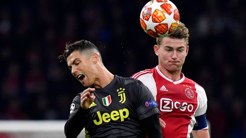 <p>               FILE - In this Wednesday, April 10, 2019 file photo, Ajax's Matthijs de Ligt, right, fights for the ball with Juventus' Cristiano Ronaldo during the Champions League quarterfinal, first leg, soccer match between Ajax and Juventus at the Johan Cruyff ArenA in Amsterdam, Netherlands. Defender Matthijs de Ligt is undergoing medical exams with Juventus ahead of an expected 70 million euros ($80 million) transfer from Ajax. Juventus shared photos and videos on social media of De Ligt's arrival in Turin late Tuesday then fans awaiting him outside the club's training facility when he showed up early Wednesday, July 17, 2019. (AP Photo/Martin Meissner, File)             </p>