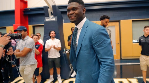 <p>               New Orleans Pelicans first-round draft pick Zion Williamson arrives for his introductory news conference at the NBA basketball team's practice facility in Metairie, La., Friday, June 21, 2019. (AP Photo/Gerald Herbert)             </p>