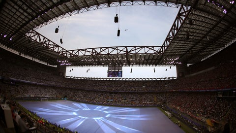 """<p>               FILE - In this Saturday, May 28, 2016 file photo, a general view of San Siro stadium ahead of the Champions League final soccer match between Real Madrid and Atletico Madrid in Milan, Italy. AC Milan and Inter Milan are jointly asking city officials for permission to build a 60,000-seat stadium replacing the iconic San Siro, it was announced Wednesday, July 10, 2019. The clubs say they plan a privately funded 1.2 billion euros ($1.35 billion) project to become a """"sports, entertainment, and shopping"""" hub creating 3,500 jobs.  (AP Photo/Alessandra Tarantino, File )             </p>"""
