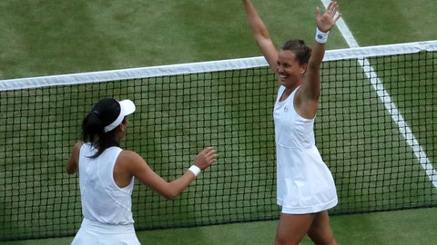<p>               Czech Republic's Barbora Strycova, right, and Taiwan's Su-Wei Hsieh celebrate defeating Canada's Gabriela Dabrowski and China's Yifan Xu in the women's doubles final match of the Wimbledon Tennis Championships in London, Sunday, July 14, 2019. (AP Photo/Ben Curtis)             </p>
