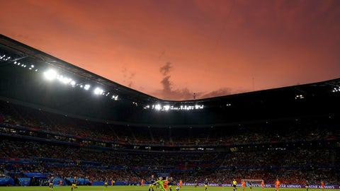<p>               Sweden goalkeeper Hedvig Lindahl kicks a ball as the sun sets during the Women's World Cup semifinal soccer match between the Netherlands and Sweden at the Stade de Lyon outside Lyon, France, Wednesday, July 3, 2019. (AP Photo/Laurent Cipriani)             </p>