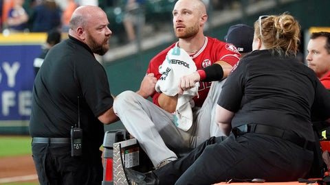<p>               Los Angeles Angels' Jonathan Lucroy, center, is carted off the field after colliding with Houston Astros' Jake Marisnick at home plate during the eighth inning of a baseball game Sunday, July 7, 2019, in Houston. (AP Photo/David J. Phillip)             </p>