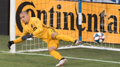 <p>               Montreal Impact goalkeeper Evan Bush gives up a goal from the penalty spot to Minnesota United's Ethan Finlay during the first half of an MLS soccer match Saturday, July 6, 2019, in Montreal. (Graham Hughes/The Canadian Press via AP)             </p>