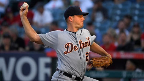 <p>               Detroit Tigers starting pitcher Jordan Zimmermann throws to the plate during the first inning of a baseball game against the Los Angeles Angels, Monday, July 29, 2019, in Anaheim, Calif. (AP Photo/Mark J. Terrill)             </p>