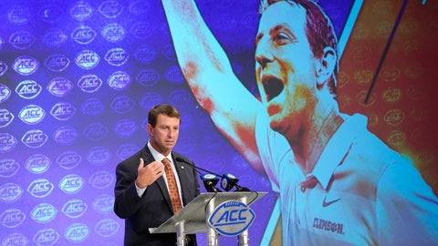 <p>               Clemson head coach Dabo Swinney speaks during the Atlantic Coast Conference NCAA college football media day in Charlotte, N.C., Wednesday, July 17, 2019. (AP Photo/Chuck Burton)             </p>