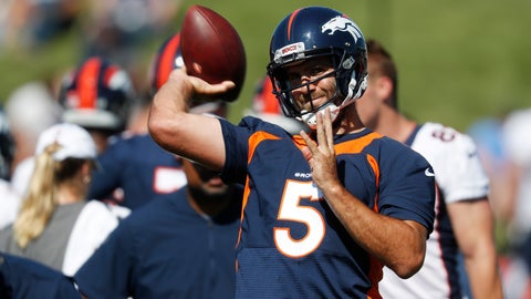 <p>               Denver Broncos quarterback Joe Flacco throws a pass during drills at the team's NFL football training camp Friday, July 19, 2019, in Englewood, Colo. (AP Photo/David Zalubowski)             </p>