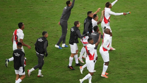 <p>               Peru's players celebrate their team's 3-0 win over Chile in a Copa America semifinal soccer match at Arena do Gremio in Porto Alegre, Brazil, Wednesday, July 3, 2019. Peru advance to the final.(AP Photo/Edison Vara)             </p>