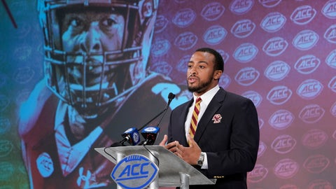 <p>               Boston College's AJ Dillon speaks during the Atlantic Coast Conference NCAA college football media day in Charlotte, N.C., Wednesday, July 17, 2019. (AP Photo/Chuck Burton)             </p>