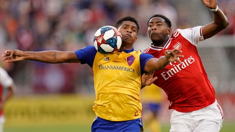 <p>               Colorado Rapids forward Niki Jackson (12) and Arsenal forward Tyreece John-Jules go after the ball during the first half of an international friendly soccer match, Monday, July 15, 2019, in Commerce City, Colo. (AP Photo/Jack Dempsey)             </p>