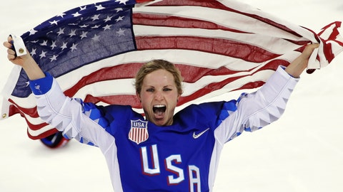 <p>               FILE - In this Feb. 22, 2018, file photo, Jocelyne Lamoureux-Davidson, of the United States, celebrates after winning against Canada in the women's gold medal hockey game at the 2018 Winter Olympics in Gangneung, South Korea. Olympic women's hockey gold medalists Lamoureux-Davidson and her sister Monique Lamoureux-Morando have unveiled their foundation that has a goal of benefiting underserved children and communities, primarily in their home state of North Dakota. The 30-year-old Grand Forks natives and University of North Dakota standouts helped the United States win the gold medal in South Korea in 2018. (AP Photo/Matt Slocum, File)             </p>