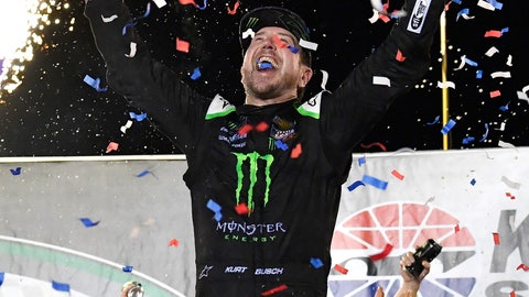 <p>               Kurt Busch celebrates his win in the NASCAR Cup Series auto race at Kentucky Speedway in Sparta, Ky., Saturday, July 13, 2019. (AP Photo/Timothy D. Easley)             </p>