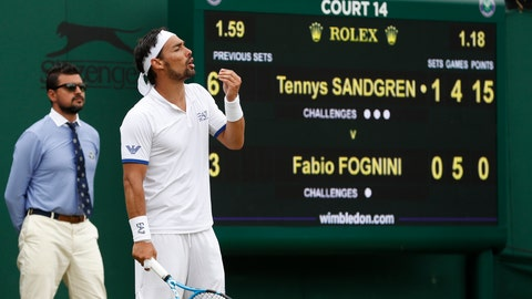 <p>               Italy's Fabio Fognini reacts as he plays United States' Tennys Sandgren in a Men's singles match during day six of the Wimbledon Tennis Championships in London, Saturday, July 6, 2019. (AP Photo/Alastair Grant)             </p>