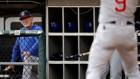 <p>               Chicago Cubs manager Joe Maddon watches Javier Baez during the first inning of the team's baseball game against the Chicago White Sox in Chicago, Saturday, July 6, 2019. (AP Photo/Nam Y. Huh)             </p>