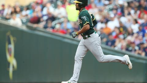 <p>               Oakland Athletics' Marcus Semien rounds the bases on a solo home run off Minnesota Twins pitcher Jake Odorizzi in the first inning of a baseball game Friday, July 19, 2019, in Minneapolis. (AP Photo/Jim Mone)             </p>