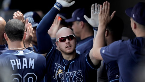 <p>               Tampa Bay Rays' Michael Brosseau is greeted in the dugout after hitting a two-run home run off Baltimore Orioles starting pitcher Thomas Eshelman during the sixth inning of a baseball game, Sunday, July 14, 2019, in Baltimore. (AP Photo/Julio Cortez)             </p>