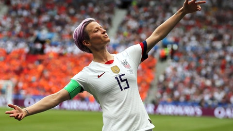 <p>               United States' Megan Rapinoe celebrates after scoring the opening goal from the penalty spot during the Women's World Cup final soccer match between US and The Netherlands at the Stade de Lyon in Decines, outside Lyon, France, Sunday, July 7, 2019. (AP Photo/Francisco Seco)             </p>