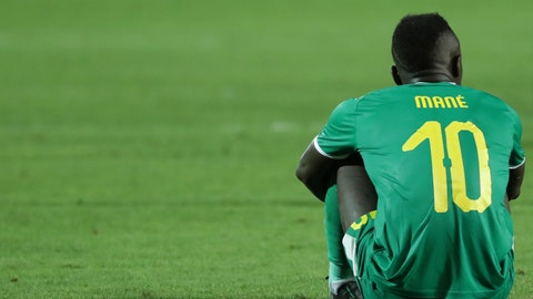 <p>               Senegal's Sadio Mane sets in dejection end the African Cup of Nations final soccer match between Algeria and Senegal in Cairo International stadium in Cairo, Egypt, Friday, July 19, 2019. Algeria won 1-0. (AP Photo/Hassan Ammar)             </p>