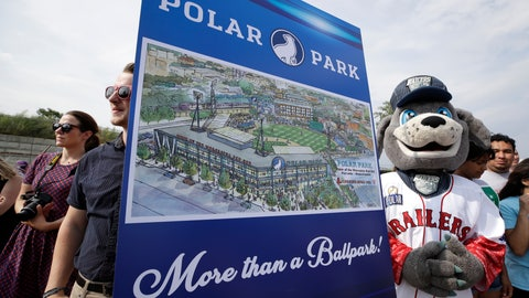 <p>               Spectators watch near an artist's rendering during a groundbreaking ceremony for a new minor league baseball stadium, Thursday, July 11, 2019, in Worcester, Mass. Polar Park will be the new home of the Boston Red Sox' Triple-A affiliate, beginning in 2021. The club announced last year that it is moving from Pawtucket, R.I. to Worcester after failing to reach a deal for a new stadium with Rhode Island officials. (AP Photo/Elise Amendola)             </p>