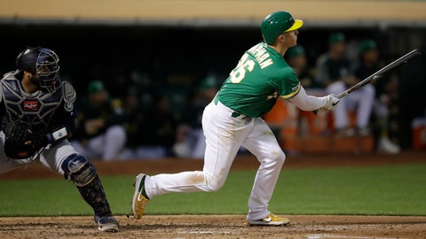 <p>               Oakland Athletics' Matt Chapman watches his two-run home run off Seattle Mariners' Marco Gonzales during the fifth inning of a baseball game Tuesday, July 16, 2019, in Oakland, Calif. (AP Photo/Ben Margot)             </p>