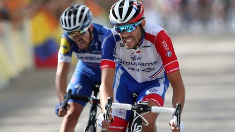 <p>               FILE - In this Saturday, July 13, 2019 file photo France's Thibaut Pinot, right, and France's Julian Alaphilippe crosse the finish line of the eighth stage of the Tour de France cycling race over 200 kilometers (125 miles) with start in Macon and finish in Saint Etienne, France. (AP Photo/Thibault Camus, File)             </p>