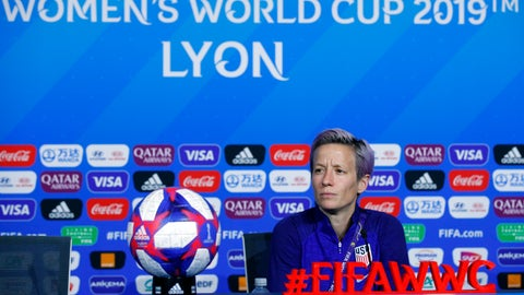 <p>               United States' Megan Rapinoe attends a press conference at the Stade de Lyon, outside Lyon, France, Saturday, July 6, 2019. US will face Netherlands in a Women's World Cup final match Sunday in Lyon. (AP Photo/Francois Mori)             </p>