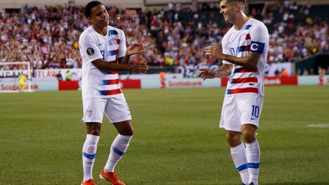 <p>               United States' Weston Mckennie, left, and Christian Pulisic celebrate after Mckennie's goal during the first half of a CONCACAF Gold Cup soccer match against Curacao, Sunday, June 30, 2019, in Philadelphia. The United States won 1-0. (AP Photo/Matt Slocum)             </p>
