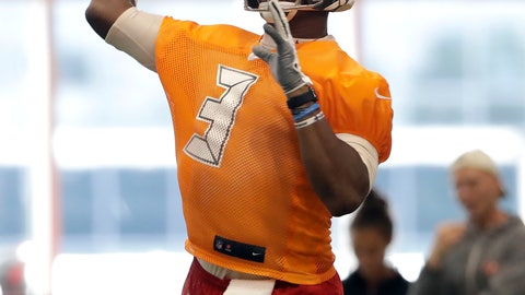 <p>               Tampa Bay Buccaneers quarterback Jameis Winston (3) throws a pass during an NFL football training camp practice Friday, July 26, 2019, in Tampa, Fla. (AP Photo/Chris O'Meara)             </p>