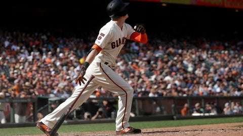 <p>               San Francisco Giants' Mike Yastrzemski hits a solo home run against the New York Mets during the 12th inning of a baseball game in San Francisco, Sunday, July 21, 2019. (AP Photo/Jeff Chiu)             </p>